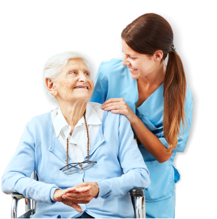 nurse and senior smiling
